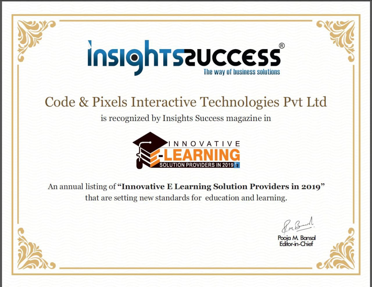 Code and Pixels is recognised by Insight Success Business Magazine as Innovative E-Learning Solution Providers in 2019